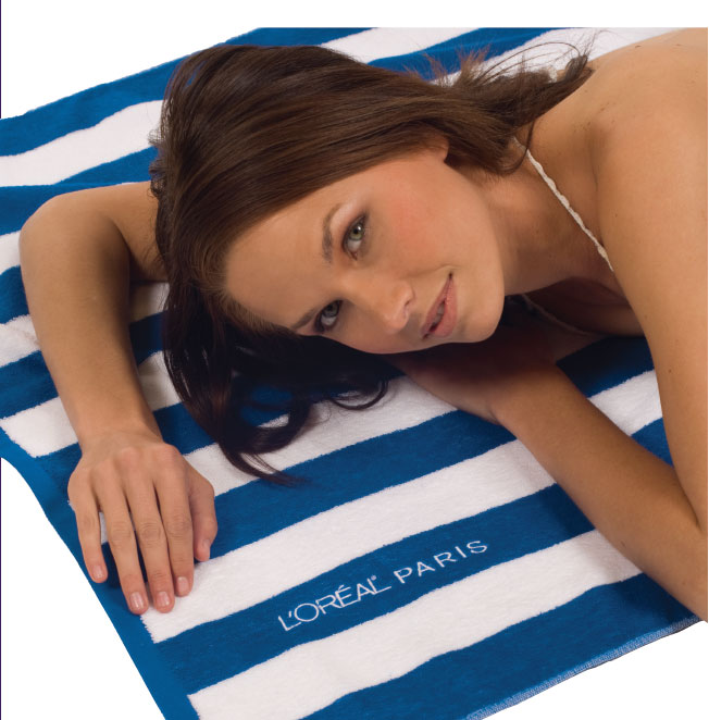 CABANA STRIPED LOOP TERRY BEACH TOWEL
